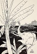 The Elephant's Child Going To Pull Bananas Off A Banana-tree Print by Joseph Rudyard Kipling