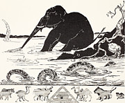 The Elephant's Child Having His Nose Pulled By The Crocodile Print by Joseph Rudyard Kipling