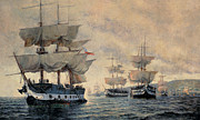 Sailboat Paintings - The Embarkation of the Liberating Expedition of Peru on the 20th August 1820 by Antonio A Abel