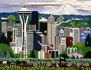 Boeing Paintings - The Emerald City Seattle by Jennifer Lake