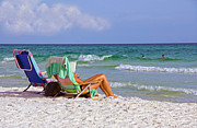 Beach Towel Prints - The Emerald Coast Print by Charles Beeler