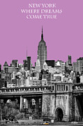 New York Vista Framed Prints - The Empire State Building pantone african violet Framed Print by John Farnan