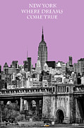 New York Vista Framed Prints - The Empire State Building Pantone african violet light Framed Print by John Farnan
