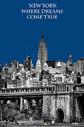 Yellow Cab Posters - The Empire State Building pantone blue Poster by John Farnan