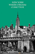 Sun  Ray Posters - The Empire State Building Pantone Emerald Poster by John Farnan
