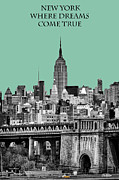 Gold Buildings Prints - The Empire State Building Pantone Jade Print by John Farnan