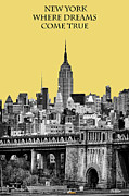 Brilliant Color Posters - The Empire State Building pantone lemon Poster by John Farnan