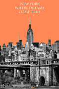 New York Vista Posters - The Empire State Building pantone nectarine Poster by John Farnan