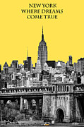 Yellow Cab Posters - The Empire State Building pantone yellow Poster by John Farnan