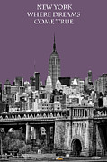 Manhattan Bridge Prints - The Empire State Building Plum Print by John Farnan