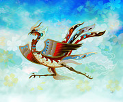 Animal Art Print Mixed Media Posters - The Empress - Flight Of Phoenix - Blue Version Poster by Bedros Awak