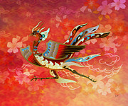 Animal Art Print Mixed Media Posters - The Empress - Flight Of Phoenix - Red Version Poster by Bedros Awak