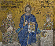 The Empress Zoe Mosaics On The Eastern Wall Of The Southern Gallery In Hagia Sophia  Print by Ayhan Altun