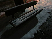 Snowy Night Photo Posters - The Empty Bench Poster by Guy Ricketts