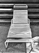 Lawn Chair Metal Prints - THE EMPTY CHAISE Palm Springs Metal Print by William Dey