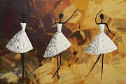 Artist Christine Krainock Prints - The Encore - Three Dancers in White Print by Christine Krainock
