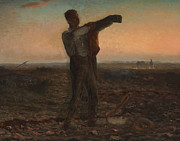 Silhouetted Metal Prints - The End of the Day Effect of Evening  Metal Print by Jean-Francois Millet