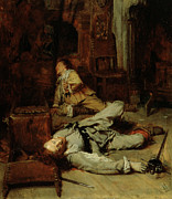 Tragedy Paintings - The End Of The Game of Cards by Jean Louis Ernest Meissonier