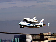 Spaceshuttle Framed Prints - THe Endeavor and her 747 Final Landing at LAX Framed Print by Denise Dube