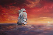 Galleons Posters - The Endeavour on Calm Seas Poster by Jean Walker