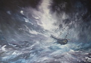 Pirates Painting Originals - The Endeavour on Stormy Seas by Jean Walker