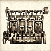 Camshaft Posters - The Engine - Sepia Poster by Martin Bergsma