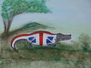 Crocodile Paintings - The England Crocodile by Janet Watson by Janet Watson
