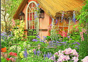Country Cottage Photo Originals - The English Cottage Spring Garden by Dora Sofia Caputo