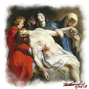 Rubens Digital Art Metal Prints - The Entombment After Rubens Metal Print by Mark Gallegos