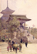 Kimono Prints - The Entrance to the Temple of Kiyomizu Dera Kyoto Print by Sir Alfred East
