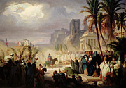 Jerusalem Paintings - The Entry of Christ into Jerusalem by Louis Felix Leullier