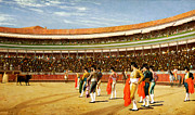 Arena Painting Prints - The Entry of the Bull Print by Jean Leon Gerome