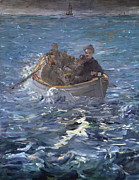Row Boat Framed Prints - The Escape of Henri de Rochefort Framed Print by Edouard Manet