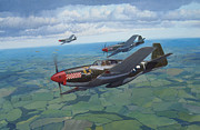 Mustang Aviation Art Paintings - The Escorts by Steven Heyen