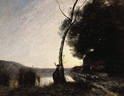 Shadowy Framed Prints - The Evening Star Framed Print by Jean Baptiste Camille Corot