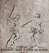 Sports Art Mixed Media Posters - The Evolution of Baseball Poster by John Malone