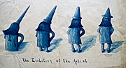 Ink Drawing Photo Prints - The Evolution of the Artist Print by Gwyn Newcombe