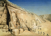 Hieroglyphics Paintings - The Excavation of the Great Temple of Ramesses II by Louis MA Linant de Bellefonds