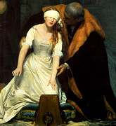 White Dress Prints - The Execution of Lady Jane Grey Print by Paul  Delaroche