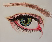 Prismacolors Drawings Posters - The Eye Has It 2 Poster by Michael C Crane