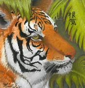 Stripes Pastels Metal Prints - The Eye of the Tiger Metal Print by Hannah Parker