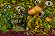 Optic Digital Art Posters - The Eyeball Garden Poster by Liam Liberty