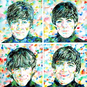 Paul Mccartney Portrait Paintings - the FAB FOUR - watercolor portrait by Fabrizio Cassetta