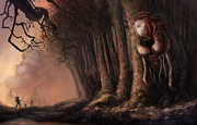 Mysterious Digital Art Prints - The Fabled Giant Women of the Woods Print by Ethan Harris