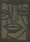 Linoleum Mixed Media Posters - The Face Linoleum Block Carving Poster by Shawn Vincelette