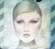 Twiggy Drawings Posters - The Face of 66 Poster by Megan Jenkins