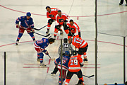 Flyers Photo Prints - The Faceoff Print by David Rucker