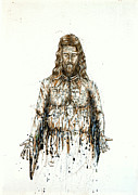 Crucifix Art Painting Metal Prints - The Faces of  Body of Jesus Christ Metal Print by Thomas Lentz