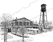 Pen And Ink Drawing Of Franklin Tennessee Drawings Prints - The Factory in Franklin Tennessee Print by Janet King