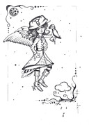 Raining Drawings Posters - The Faery Pirate  Poster by Sheri Athwal
